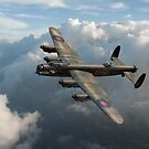 Lancaster W5005 AR-L Leader above clouds by Gary Eason