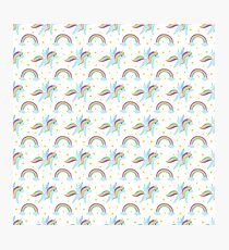 Cute abstract magical pink rainbow unicorn pattern Photographic Print