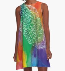 Bright Rainbow Abstract A-Line Dress
