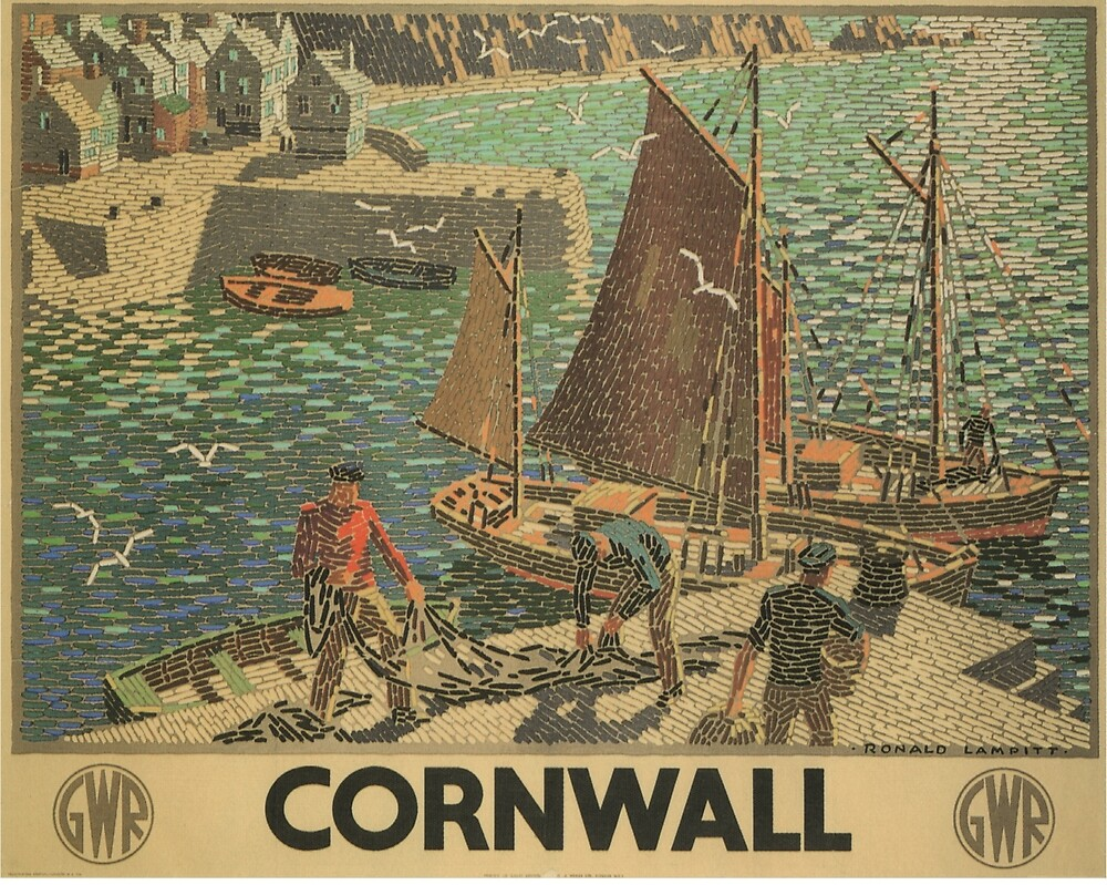 Vintage poster - Cornwall by mosfunky