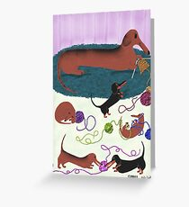 Knitting Dachshund Greeting Card