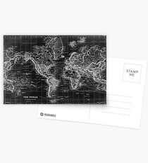 Black and White World Map (1892) Inverse Postcards