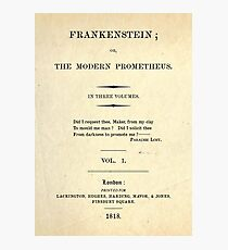 Frankenstein Title Page Photographic Print