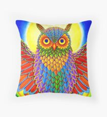 Colorful Rainbow Owl Throw Pillow