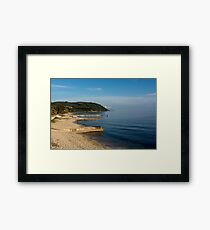 Beautiful coastline with mountains and rocks in Greece Framed Print