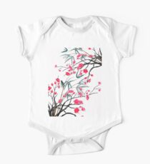 bamboo and red plum flowers 2 One Piece - Short Sleeve