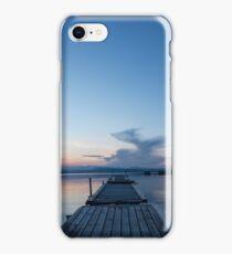 Wooden pontoon bridge in Greece, at sunset time iPhone Case/Skin