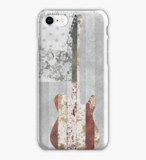 Telecaster With Rustic American Flag Background iPhone Case/Skin