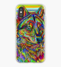 Colorful Psychedelic Rainbow Wolf iPhone Case