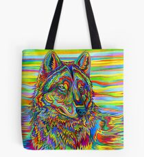Colorful Psychedelic Rainbow Wolf Tote Bag