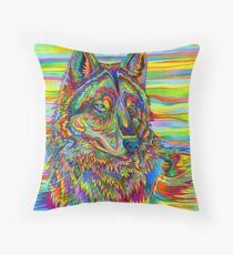 Colorful Psychedelic Rainbow Wolf Throw Pillow
