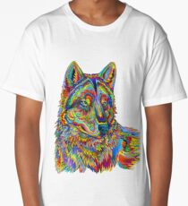 Colorful Psychedelic Rainbow Wolf Long T-Shirt