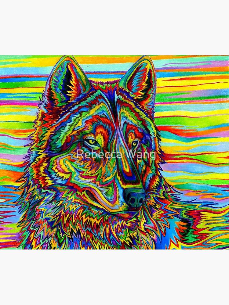 Bunter psychedelischer Regenbogen-Wolf von lioncrusher
