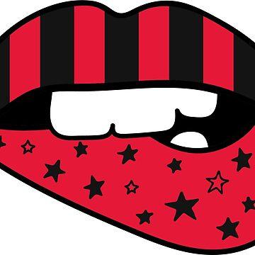 Red + Black Flag Lips by emmybdesigns