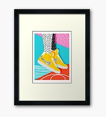 Kid You Not - memphis retro shoes fashion throwback 80s style trends minimalist art neon  Framed Print