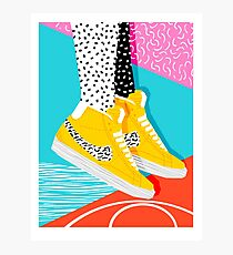 Kid You Not - Memphis retro Schuhe Mode Rückblende 80er Jahre Stil Trends minimalistischen Kunst Neon Fotodruck