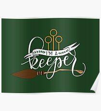 White 'I'm A Keeper' Pun - Green Poster