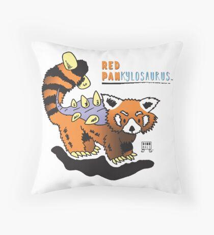 Red Pankylosaurus Throw Pillow