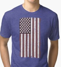 American Flag Worn Faded Vintage Look, Vertical & Mirrored Tri-blend T-Shirt