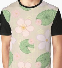 Zen Floral - Cherry Blossoms, Water Lilies and Lily Pads - Beige Graphic T-Shirt