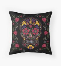 Day of the Dead Sugar Skull Dark Throw Pillow