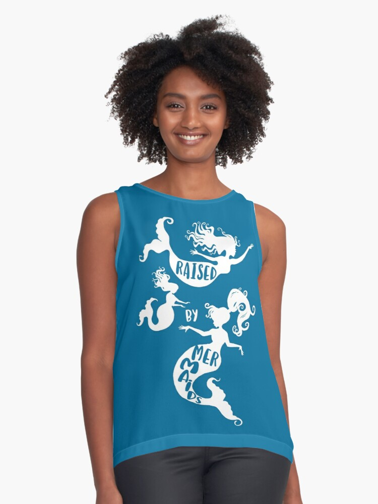 Raised By Mermaids - White Silhouette Contrast Tank Front