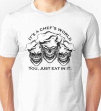 Funny Chef Skulls: It's a Chef's World T-Shirt