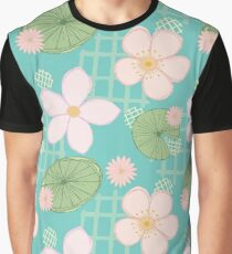 Zen Floral - Cherry Blossoms, Water Lilies and Lily Pads Graphic T-Shirt