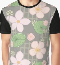 Zen Floral - Cherry Blossoms, Water Lilies and Lily Pads - Grey Graphic T-Shirt