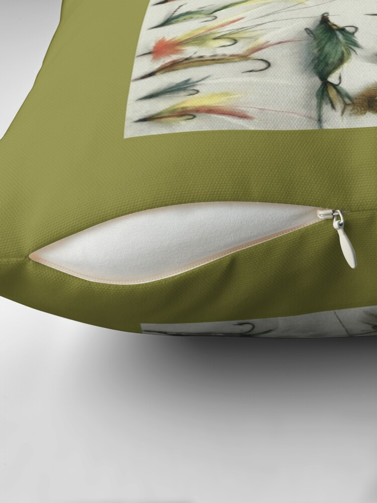 Alternate view of 1920's Fishing Flies Throw Pillow