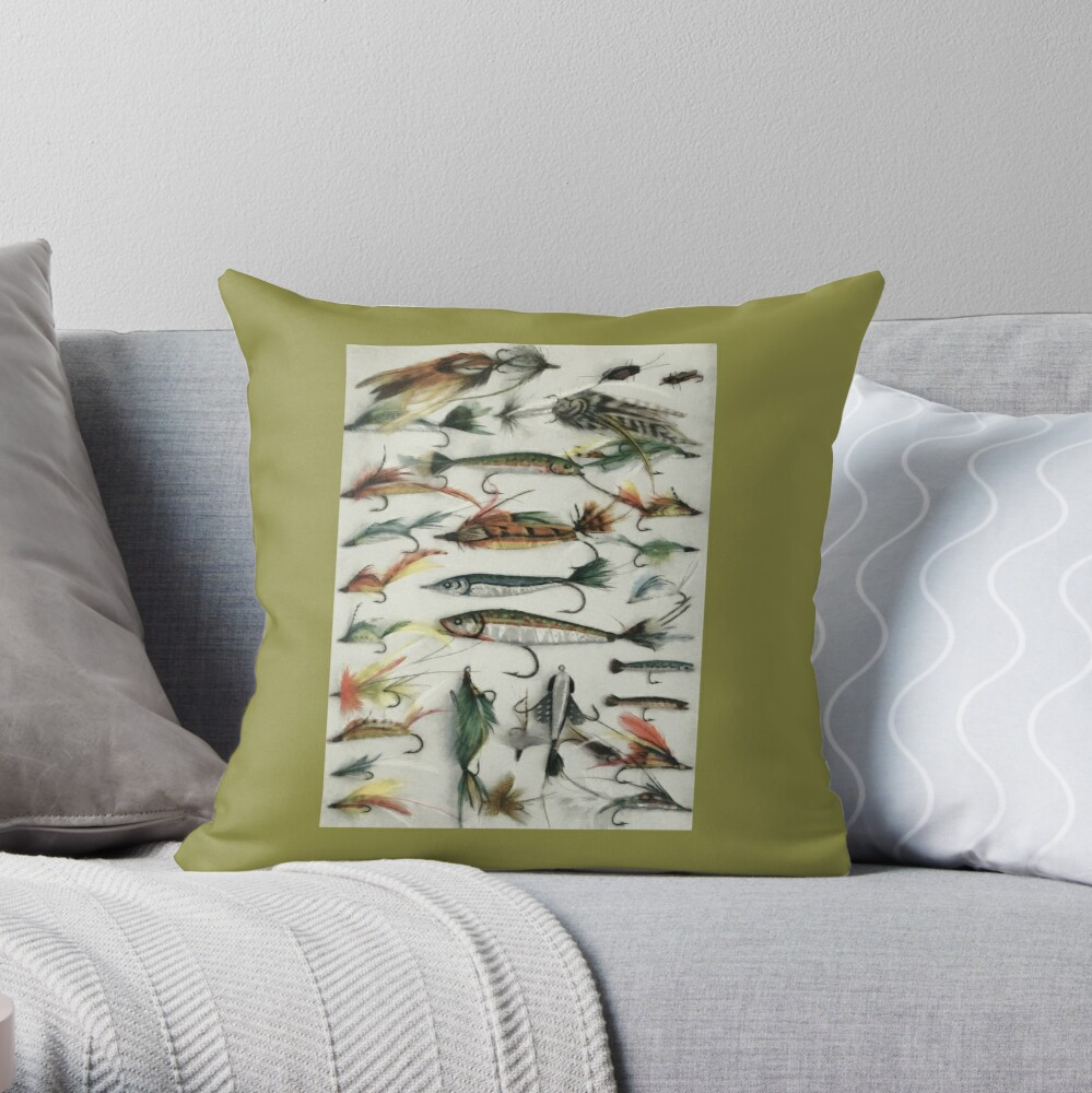1920's Fishing Flies Throw Pillow