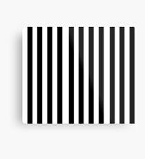 Black White Stripe Bedspread Metal Print