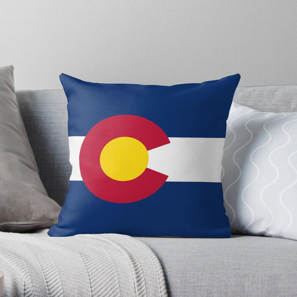 Colorado USA State Flag Bedspread T-Shirt Sticker Throw Pillow