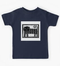 Black and White Stripey Cat Kids Tee