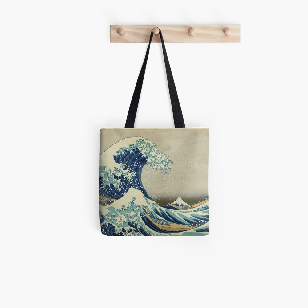 Great Wave T-Shirt - Hokusai Duvet Surfing Kanagawa Mount Fuji Sticker Tote Bag