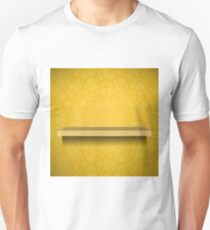 Empty Yellow Shelf  on Ornamental  Yellow Lines Background T-Shirt