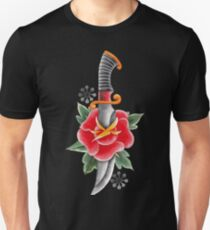 Watercolor flower pierced by the metal knife T-Shirt