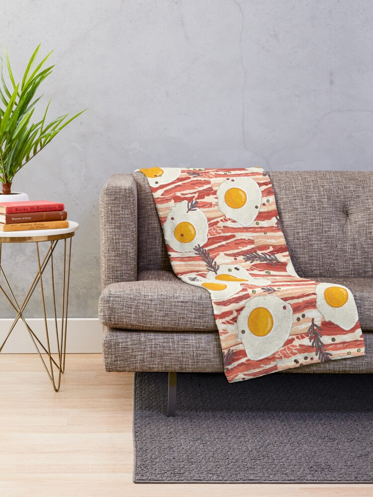 Alternate view of Bacon and eggs Throw Blanket