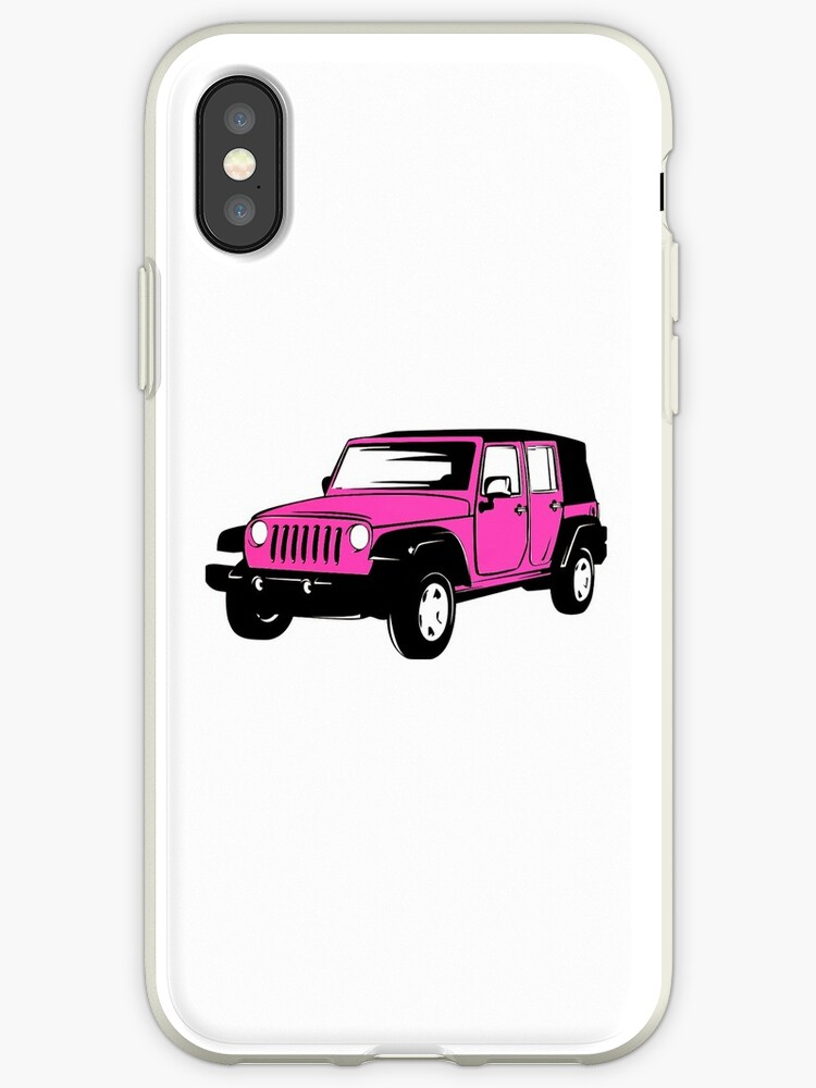 low priced 45bc0 4e246 'Neon Pink Jeep Wrangler Sticker' iPhone Case by Claire Andrews