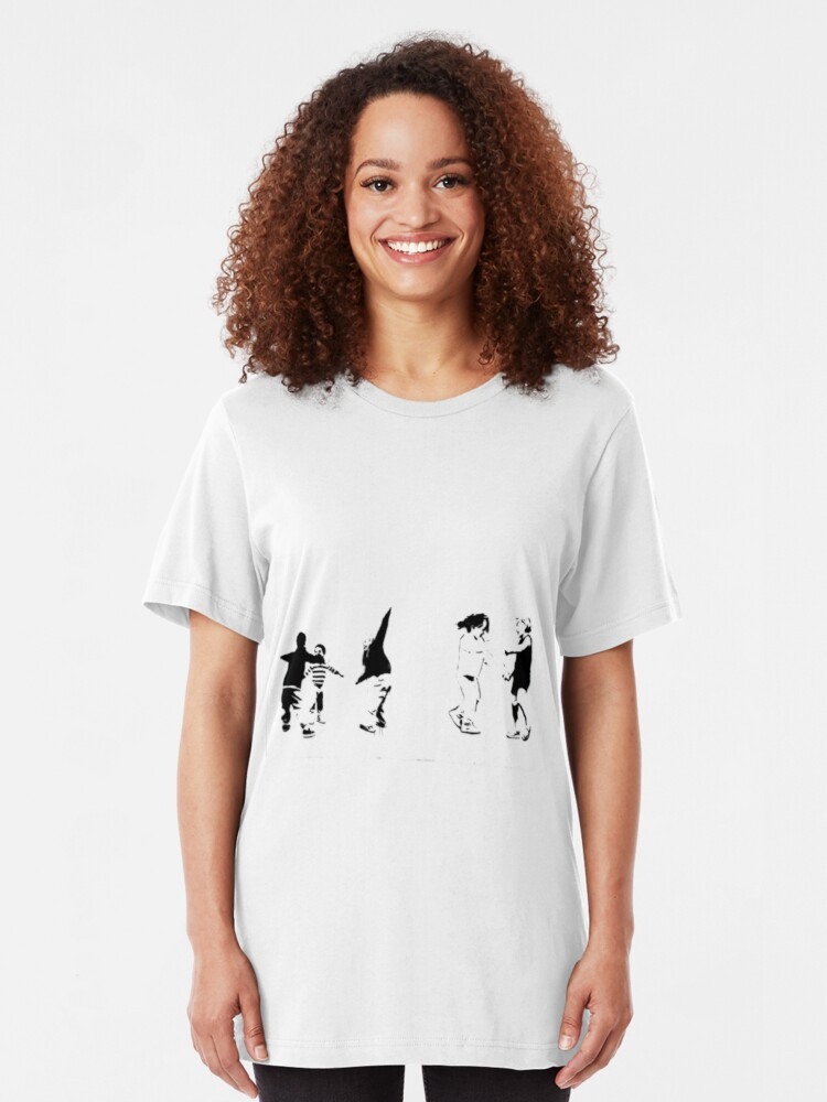 Alternate view of Children Playing: Stencil Art Slim Fit T-Shirt