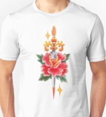 Watercolor flower pierced by the knife. T-Shirt