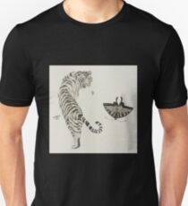 Traditional Korean Tiger and Butterfly Ink Painting T-Shirt