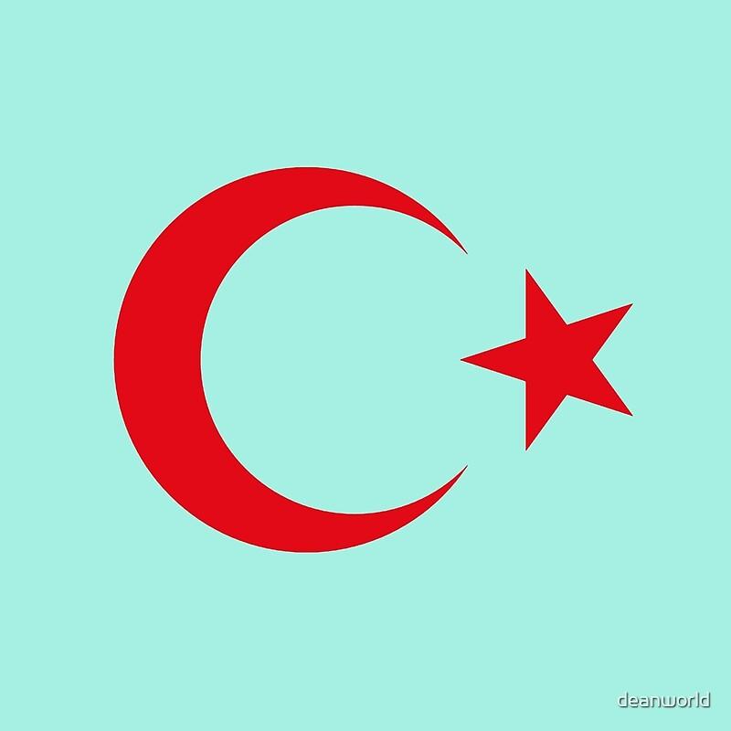 Turkish crescent moon star flag national turkey symbols sticker t shirt duvet