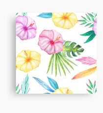 Watercolor Tropical Seamless Pattern Canvas Print