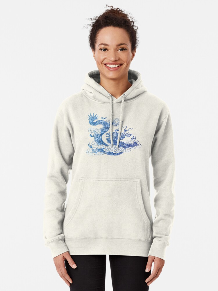 Alternate view of Awesome Asian Dragon Pullover Hoodie
