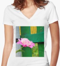 Pink Peony 2 Women's Fitted V-Neck T-Shirt