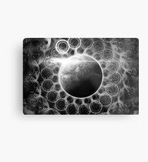 Psychedelic Black and White Fractal Mandala of Kepler-62e (w Deep Dreams) Metal Print