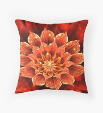 Red Dahlia Fractal Flower with Beautiful Bokeh Throw Pillow