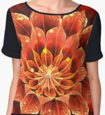 Red Dahlia Fractal Flower with Beautiful Bokeh Women's Chiffon Top