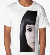 Scary black eyed ghost with pale skin  Long T-Shirt